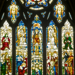 The beautiful east window representing the Book of Common Prayer's Te Deum Laudamus (We Praise Thee O Lord)